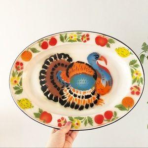 Vintage Retro Turkey Thanksgiving Tin Platter Tray